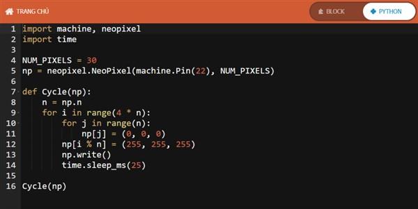 Code lập trình Led