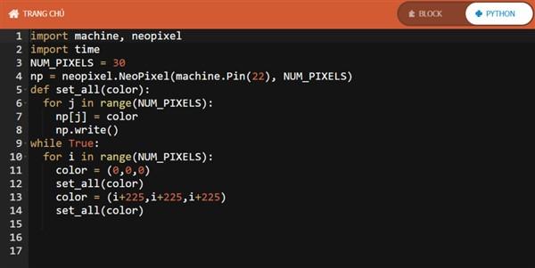 Code lập trình cho đèn led