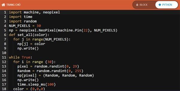 Code lập trình cho led RGB