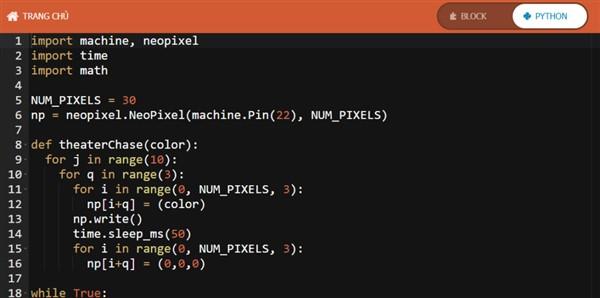 Đoạn mã lập trình cho led RGB