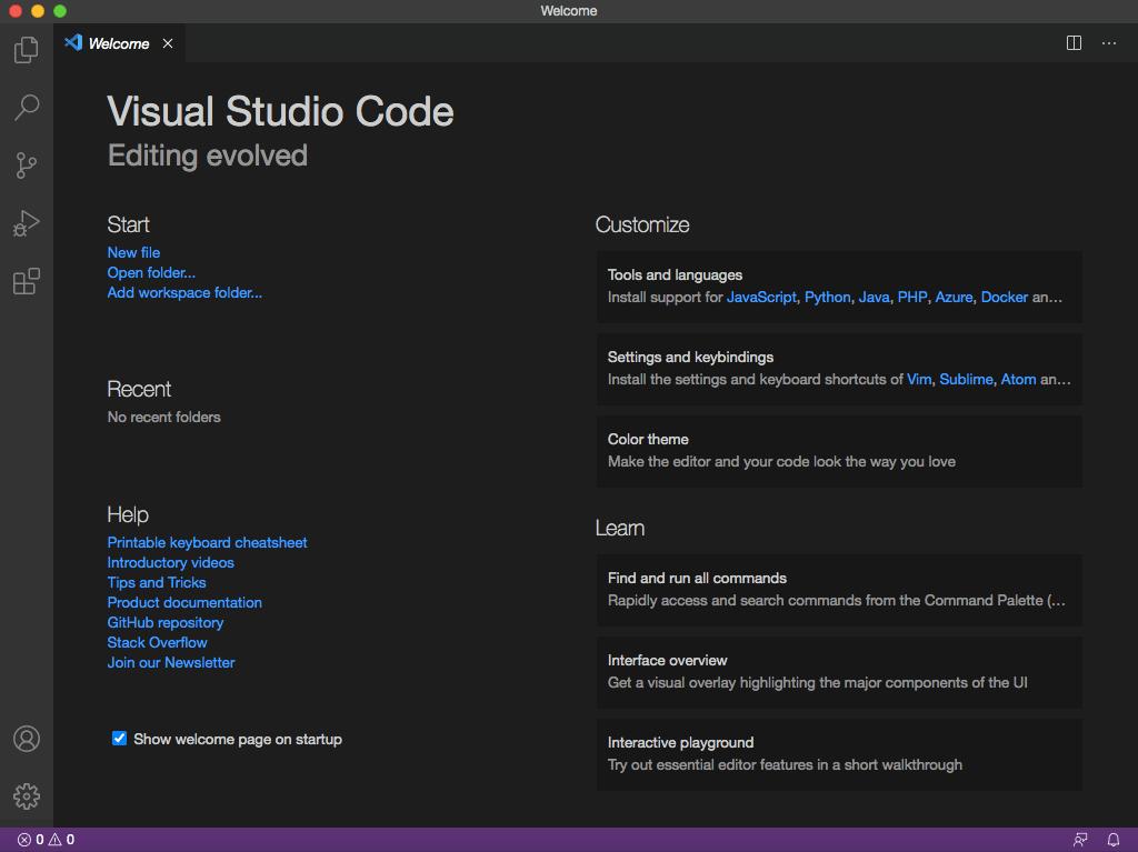 Màn hình welcome của VS Code