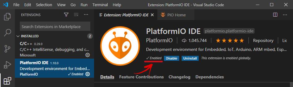 PlatformIO đã được cài đặt thành công