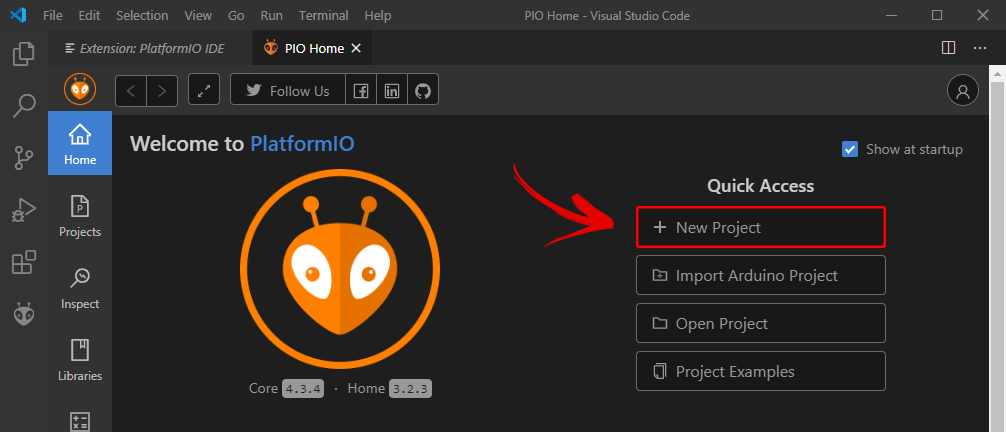 Tạo project mới trong PlatformIO IDE