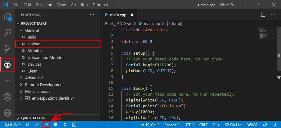 Tải lên mã ESP32 board PlatformIO VS Code Visual Studio