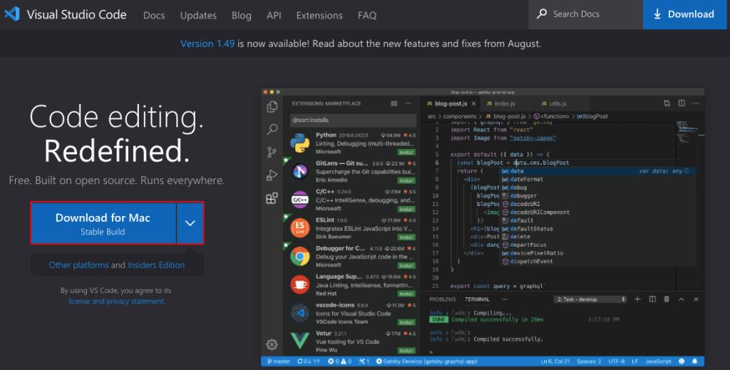 Cài đặt Visual Studio Code trên Mac OS X