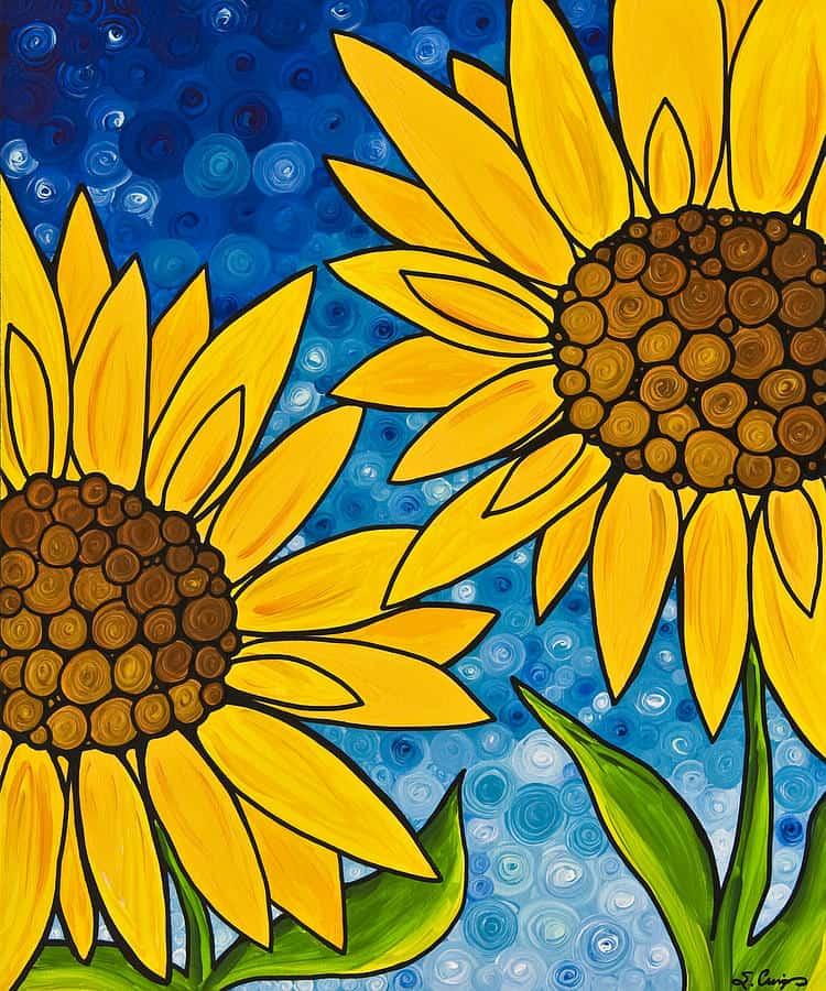 Mẫu vẽ hoa hướng dương