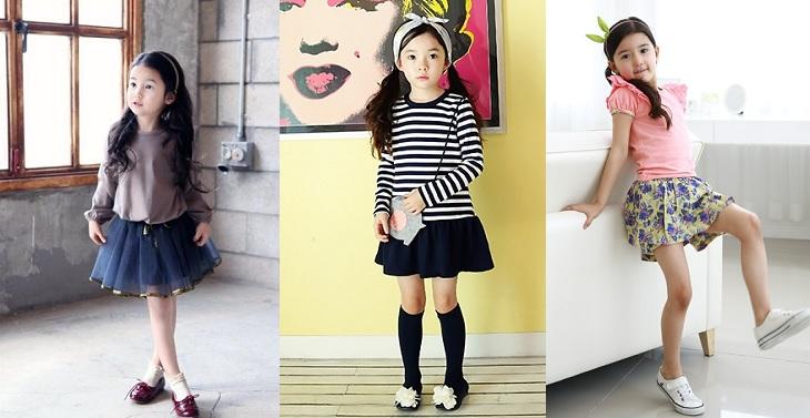 Chân váy xòe áo thun là trang phục mùa hè cho bé cực kỳ phù hợp