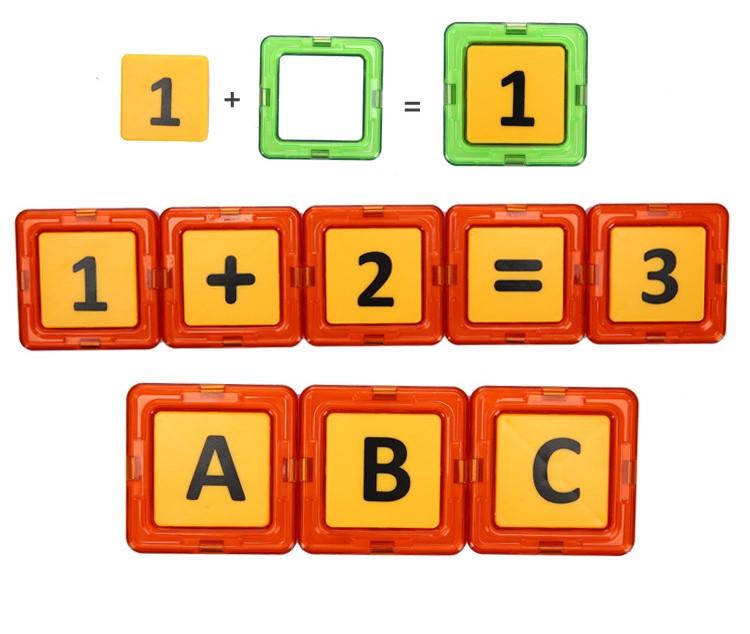 Dùng đồ chơi ghép hình khối có nam châm học toán