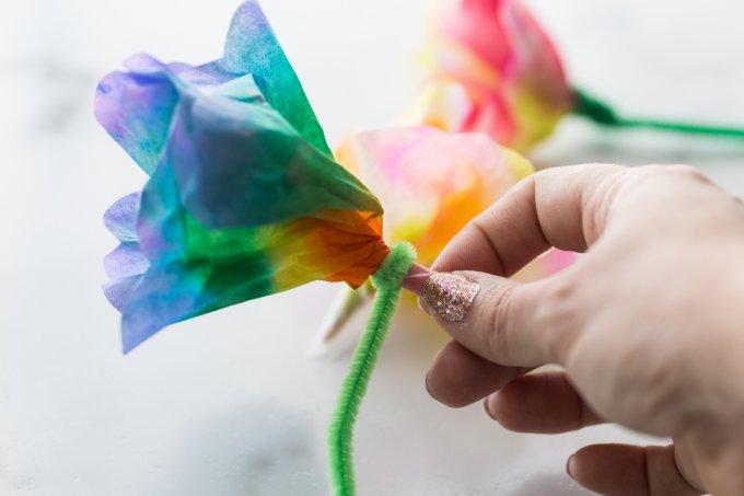 Gấp tấm lọc cà phê để tạo thành hoa ngũ sắc - hoạt động STEM đơn giản