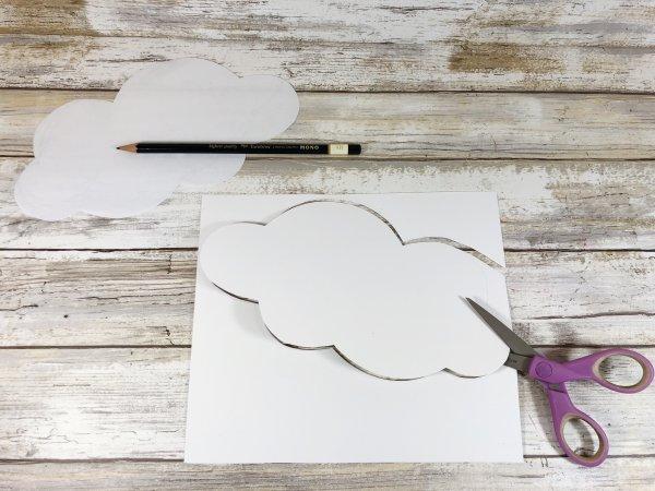In ra hình vẽ đám mây, làm nguyên liệu cho thí nghiệm STEAM vẽ cầu vồng bằng túi lọc cà phê