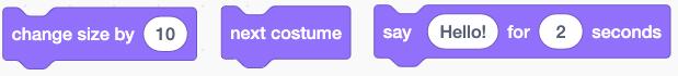 Các hình khối thay đổi giao diện trong Scratch