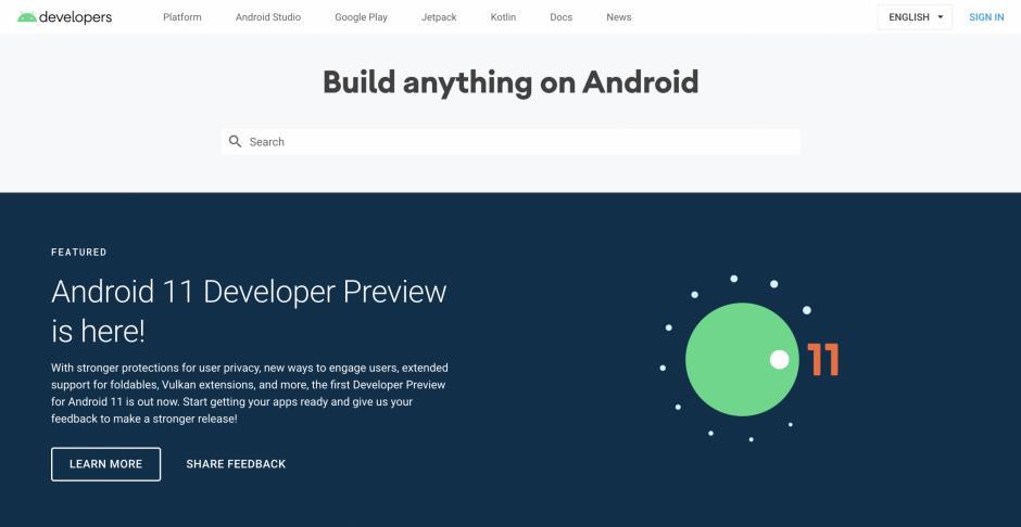 Trang web chính thức của Android