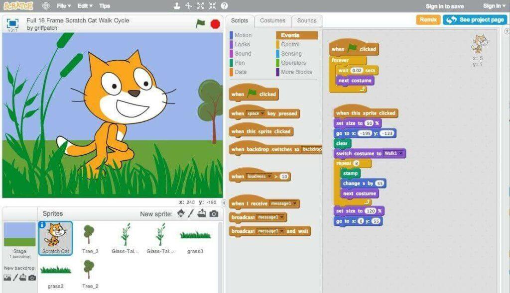 Ngôn ngữ Scratch - học lập trình đơn giản cho bé