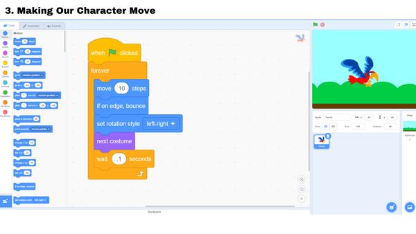 Cách tạo ra game - Bước 3 làm cho nhân vật di chuyển