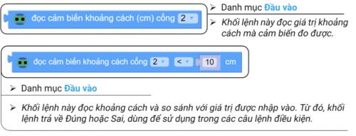 2 khối lệnh để đọc cảm biến khoảng cách