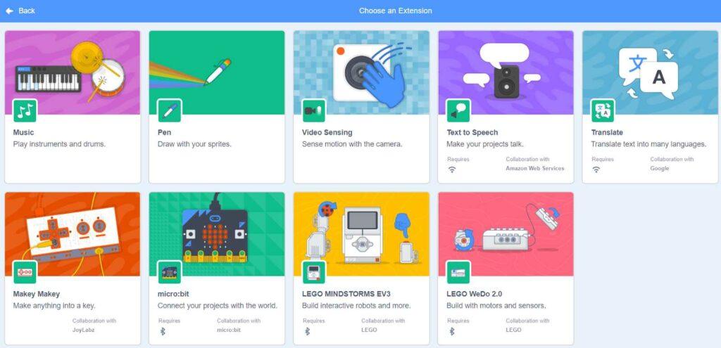 Một số tiện ích mở rộng của phần mềm Scratch 3.0