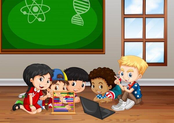 Các em nhỏ cùng học toán Soroban trong niềm vui và sự thích thú