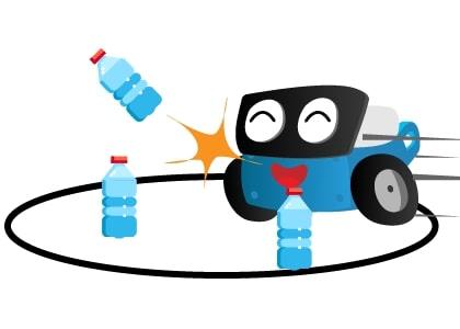 Hướng dẫn lập trình robot đẩy ngã chai nước