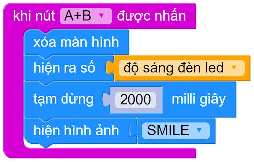 Lập trình hiển thị độ sáng trên Yolo:Bit